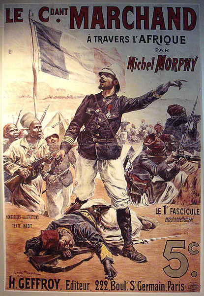 The cover of a book, and later famous poster of Commander Marchand, who marched across Africa to claim the Sudan for the French Second Republic