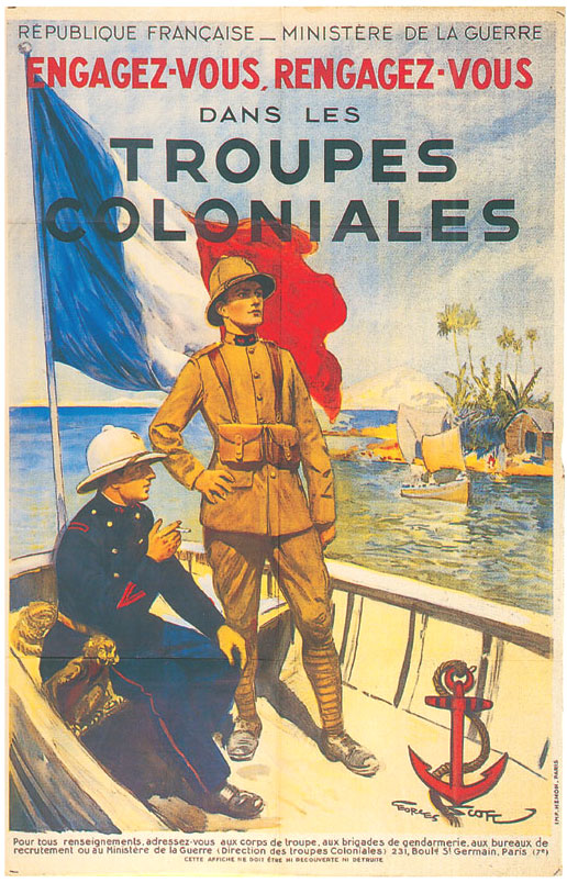 A 1930's era poster celebrating France's Colonial forces