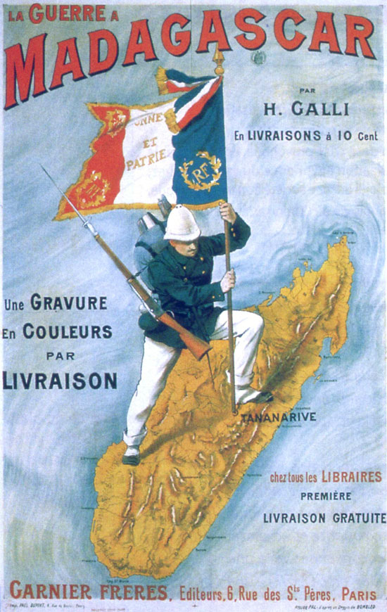 "From the book, turned into poster, ""The War in Madagascar"" highlighting the French invasion and colonization in 1896"