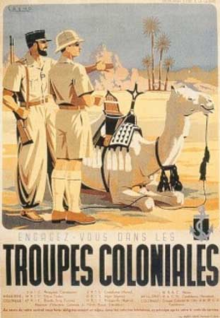 An interwar era poster highlighting the French Colonial forces in the Sahara.