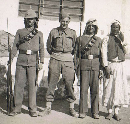 A period photo of the Arab Legion shows the unique helmet was used along side other headdress.