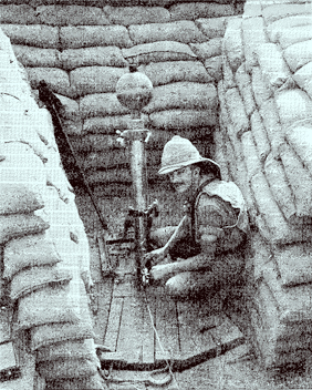 This soldier, in Mesopotamia, is wearing a spine pad secured to his torso by tapes.