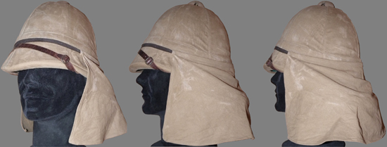 An interesting and rare example of an officer's Colonial pattern Foreign Service Helmet showing the neck curtain secured by an elastic strap. (Photo courtesy Benny Bough)