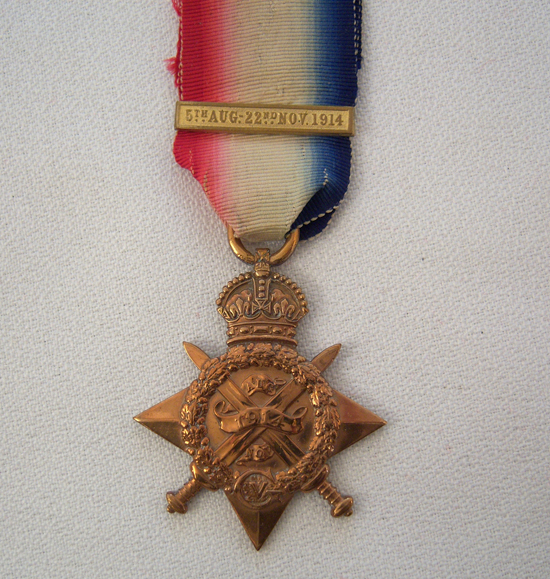Here is an example of the 1914 Star with clasp indicating action between 5th August 1914 and midnight 22nd November 1914 (Photo courtesy of Brian Wolfe)
