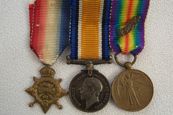 This group shows the oak leaf clasp on the Victory medal earned through the recipient having been mentioned in despatches. (Photo courtesy of Brian Wolfe)
