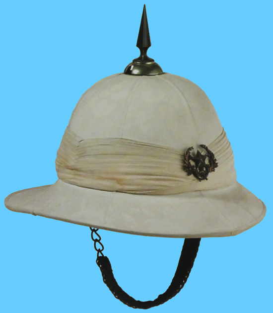 A Wolseley helmet to the Cameronians (Scottish Rifles) showing folds to the front and the right hand side of the helmet and which were repeated to the rear and the left hand side.