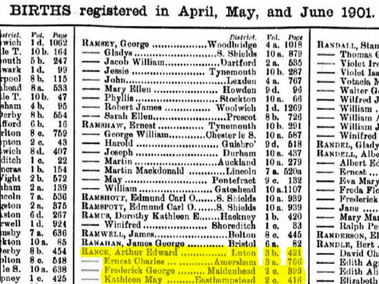 An extract from the 1911 UK Births, Deaths and Marriages database showing George Frederick Rance born at Maidenhead, Berkshire and whose birth was registered in the April quarter of 1901. (Author's collection)