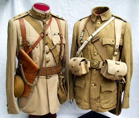 For comparison: The smooth cotton  frock on the left was worn by Captain William Murray-Threipland 3rd Battalion, Grenadier Guards, Sudan 1898, South Africa 1899-1901. A stark contrast to the late war appearance of the officers serge (and kit) on the right. Threipland later became the first Commanding Officer of the Welsh Guards, upon their formation in 1915. (Photo: James Holt collection)