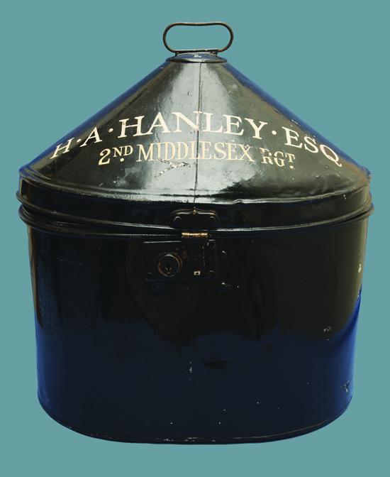 The storage/transit tin for Hanley's Wolseley helmet.