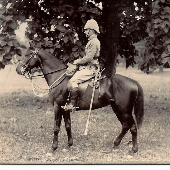 Mounted officer wearing khaki drill frock, Sam Browne belt rig, foreign service helmet and  pantaloons  tucked into stohwasser gaiters. (Photo: James Holt collection)