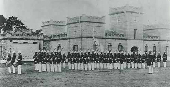 The Royal Guards at the ʻIolani Barracks' circa 1890