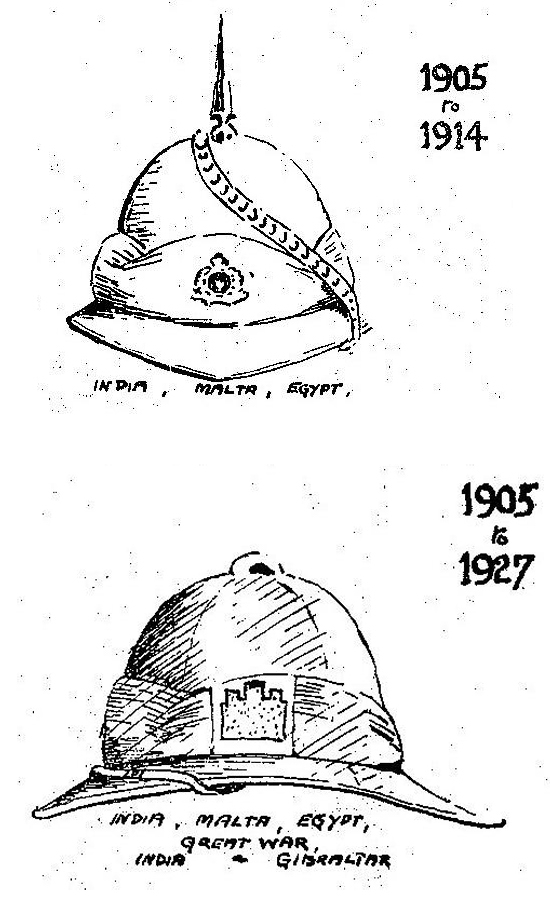 These illustrations show a white and khaki version of the Wolseley helmet to the Suffolk Regiment worn between 1905 and 1927. (Courtesy of the Suffolk Regiment Museum)
