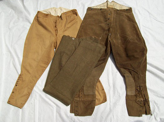 L-R: Khaki cotton Breeches, drab serge trousers, whipcord breeches. (Photo: James Holt collection)