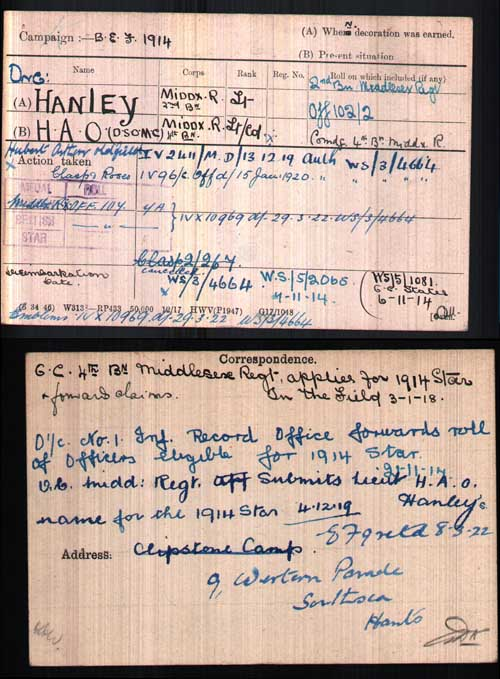 The medal index card (MIC) of Hubert Hanley showing considerable correspondence on his eligibility for the clasp & roses for the 1914 star. It would appear that his eligibility was forwarded twice and subsequently the second request cancelled. (Author's collection)