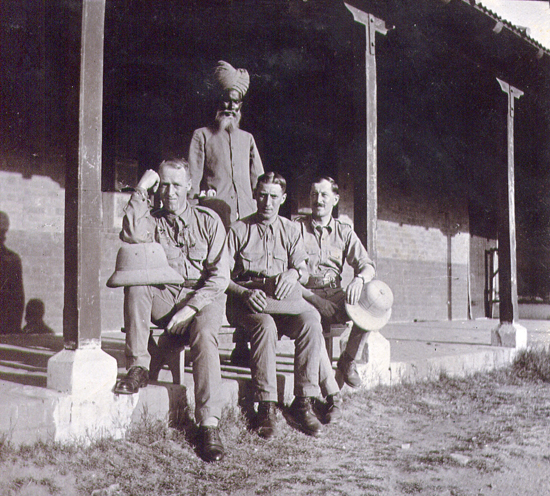 Soldiers in India, 1934-36, showing the KSPH and in the middle the quilted Cawnpore Tent Club Hat.