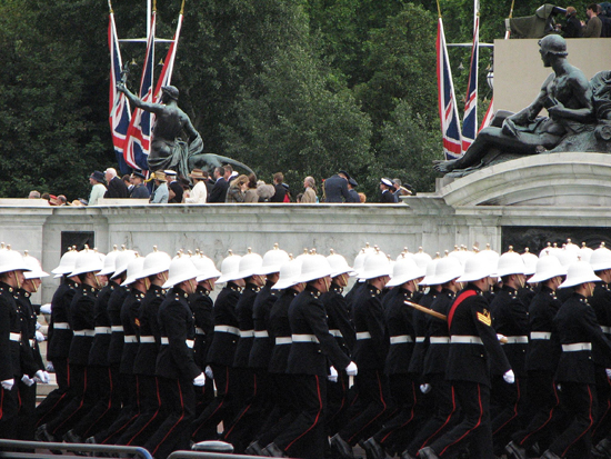 Another view of the Royal Marines with their white sun helmets
