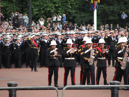 The Royal Marines bandsman in sun helmets