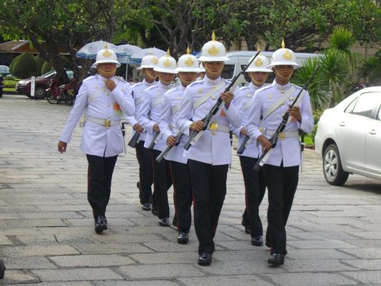 The Thai Royal Guards on Parade in Bangkok.