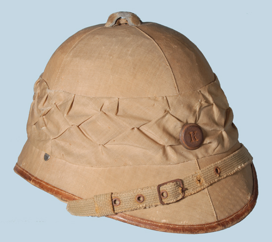 An example of an Austrian sun helmet that was likely used on the Palestine Front in World War I.
