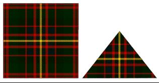 The Cameron Highlanders other ranks wore a square piece of Cameron of Erracht tartan on the left side, with officers additionally wearing a triangle of the same tartan on the rear of the helmet.