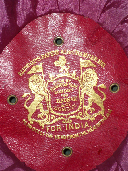 The Ellwood's maker's label showing that this helmet was made in London for a Bombay retailer. (Collection of Roland Gruschka)