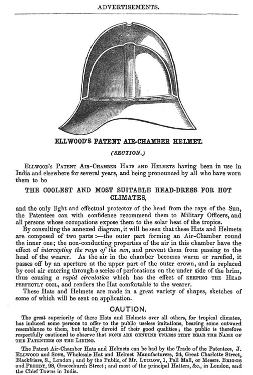 A later advertisement for Ellwood and Sons patented air-chamber helmet.