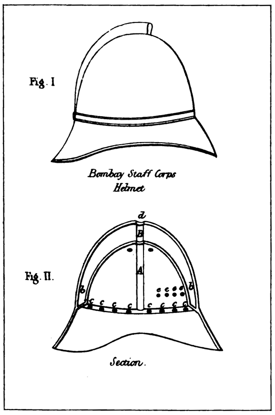 An 1868 illustration of Ellwood's Air-Chamber Helmet presented to the R.U.S.I. in 1868.