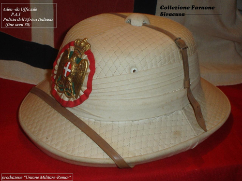 "The ""White"" ""Aden"" Pattern helmet? This example features the insignia of the Polizia Africa Italiana, which existed from 1936 until 1945. (Collection of Enzo Faraone)"