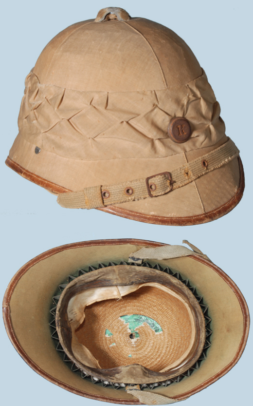 An Austrian World War I helmet, which was the standard pattern used on the Palestine Front. Most of the war-time produced helmets were made of weaved straw likely due to a shortage of cork.