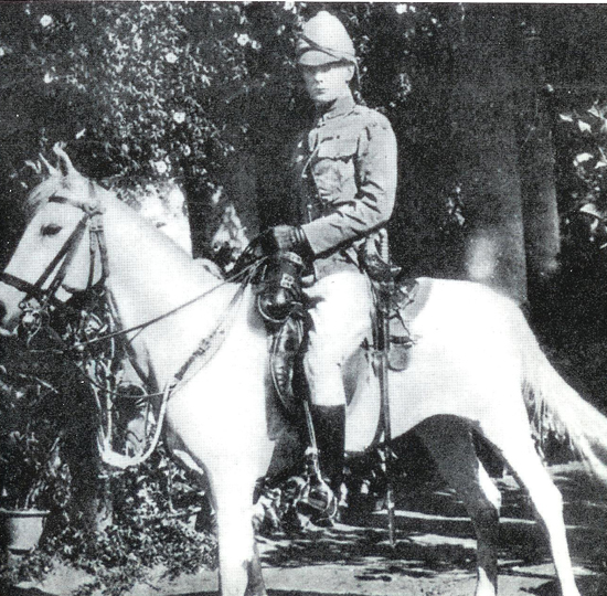 Winston Churchill in Bangalore, India in 1898. He is wearing a colonial pattern helmet.