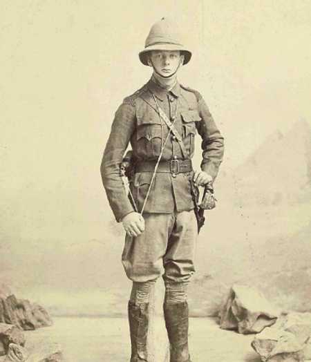 "The real ""Young"" Winston in his field uniform in the Sudan in 1898. He was attached to the 21st Lancers and is seen here wearing the Wolseley helmet."