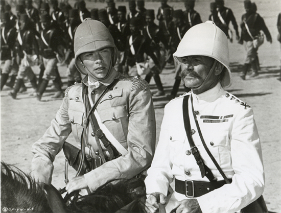 "Actor Simon Ward (left) playing ""Young Winston"" in the 1972 movie, with Sir John Mills as Horatio Herbert Kitchener."