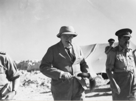 Winston Churchill, the Prime Minister, visiting El Alamein, Egypt in August 1942
