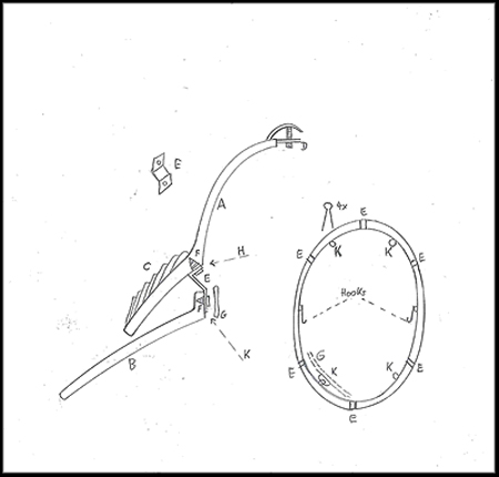 Here is a drawing that describes in section the construction of this remarkable helmet.