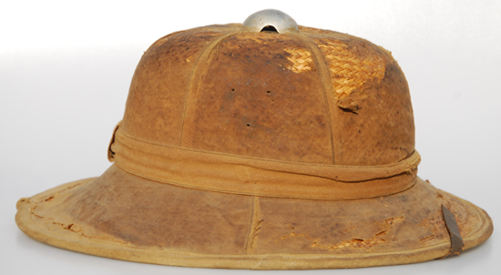 Another view of the German helmet, it shows the three holes where the Heer (Army) shield would have been attached on the right side