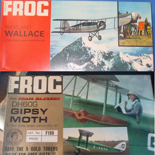 Two Frog model kits from the 1960s.