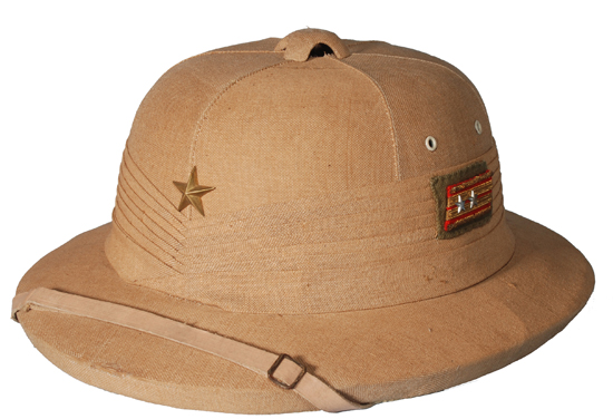 A World War II era cork helmet. While sola pith was more common in the Far East, the Japanese military adopted helmets made of a variety of materials including pith.