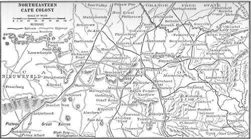 Map taken from an 1899 world atlas showing the area of operations of the1st Battalion Highland Light Infantry November 1899 – May 1900, before moving north to Dewetsdorp and eventually south again to Aliwal North.  (James Holt collection)