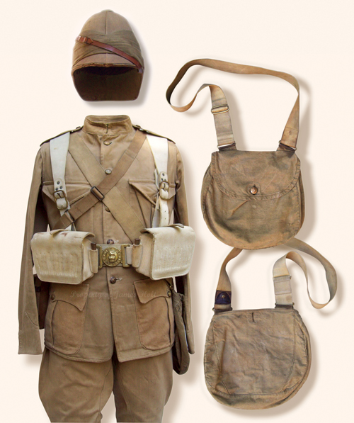 Milne-Home had in his possession this 1899 pattern other ranks khaki frock. He has added two lower flapped hip pockets with button closure. Milne-Homes' haversack is typical of what was available to officers for purchase. The khaki breeches also belonged to Milne-Home and he would have worn these rather than his tartan breeches as of November 19 1899. Perhaps Milne-Home appeared as above when the regiment marched to Magersfontein.  (James Holt collection)