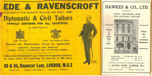 "Two out of many adverts from different London outfitters in the ""1930 Foreign Office List."" It is interesting to note that Hawkes is still using ""Late 14 Piccadilly"" in 1930 a full 18 years after their having acquired 1, Savile Row."