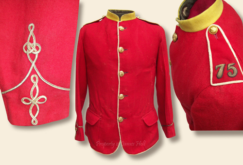 Details of Lt. Baynes' frock showing cuff lace, white piping, collar of regimental facing color, shoulder strap piping, and regiment number embroidered in gold.  The frock is with five regimental buttons down the front and one per shoulder strap.  The cuff is with a single line of lace terminating upward in an Austrian knot with the stylized crows foot lace knot below.  (James Holt collection)