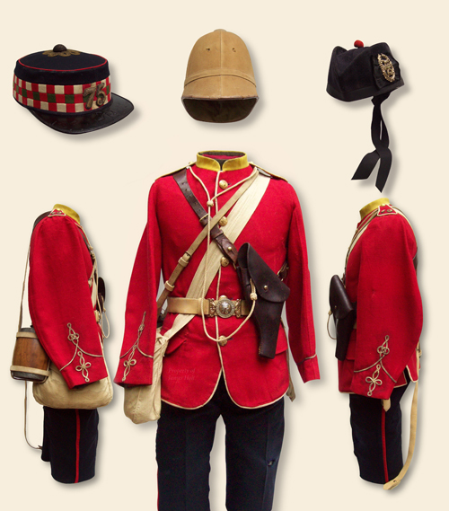 A fair impression of how an officer might have appeared on active service in South Africa 1879. Note the fullness of the sleeves around the elbow exhibiting the last vestiges of French influence on British uniforms following the Crimea. Baynes frock shows excessive wear particularly in areas where his kit rested against his body, the lower cuff edge, and the pit of the arm.  The weave of the serge would rip and snag easily in the thorny scrub found throughout the landscape. The trousers are dark blue serge with a scarlet welt on the outer seam. At the top L-R: forage cap, foreign service helmet of the period, but not belonging to Baynes, (note the stained color and provision for helmet plate), and Glengarry with regimental badge.  (James Holt collection)