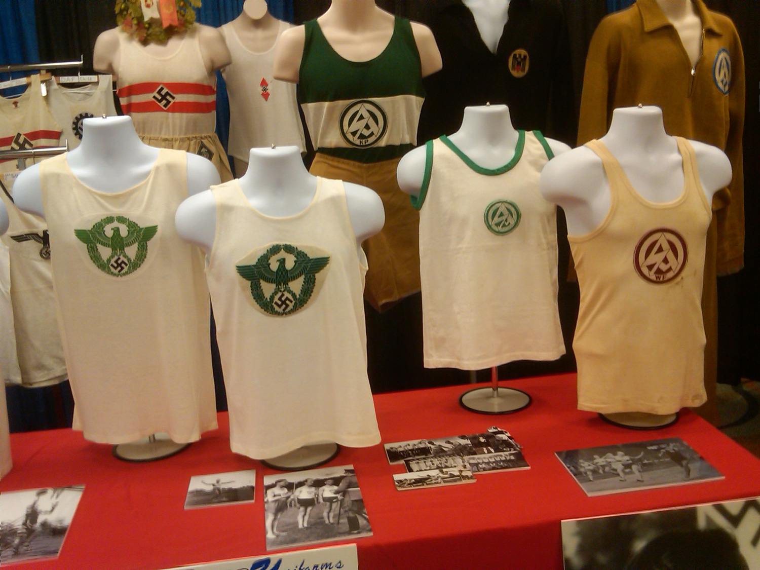 Pre-World War II German athletic shirts were part of the not-for-sale historical displays at this year's MAX Show