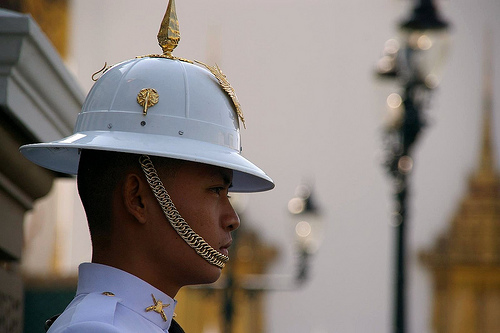 A side view of the typical Thai Royal Guard helmet