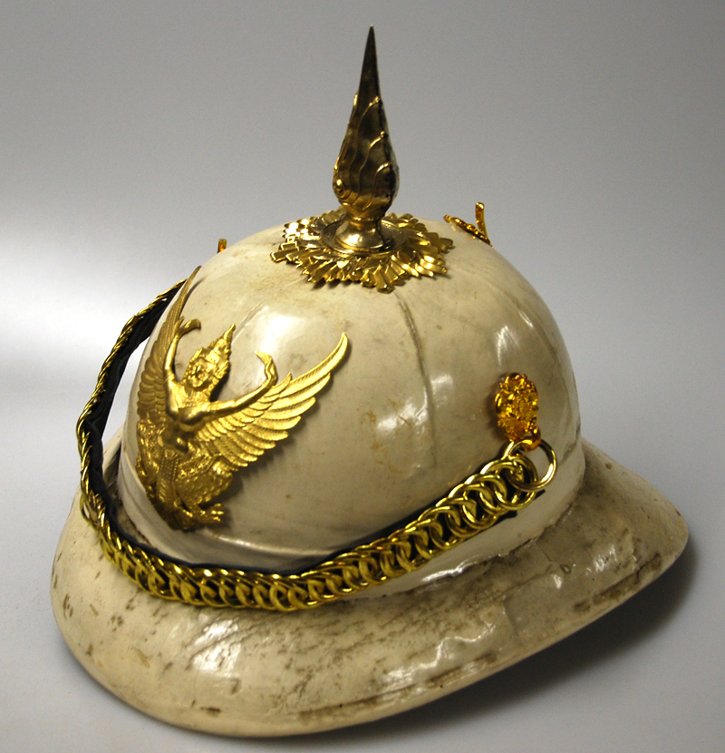 A post-World War II cork helmet - these have been replaced by a similar pattern helmet made of plastic