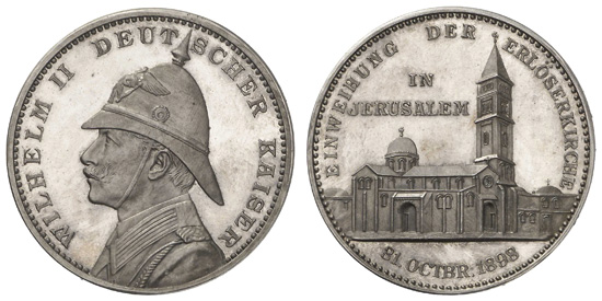 A commemorative coin for Willie's visit to Palestine shows the Kaiser in profile with a sun helmet.