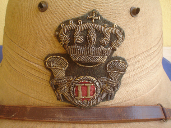 "A close up of the ""Light Cavalry"" badge, which also shows the unique grommets used for ventilation."