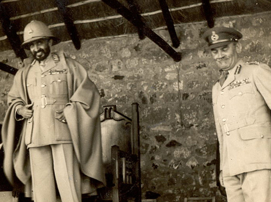 Haile Selassie and British Major General Cottam in 1946 following the Emperor's return to Ethiopia after World War II
