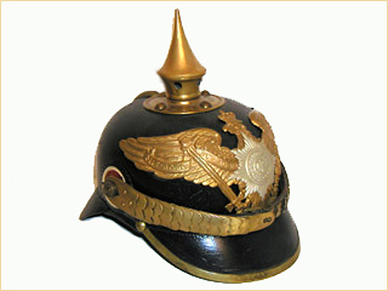 A Prussian Model 1891 NCO's Guard Infantry Pickelhaube. Note that while the spike is thicker and this helmet is made of leather it does have a similar profile to the British Home Service helmet. This pattern is an update of the Model 1867 version, which was in fact introduced 10 years before the British helmet.