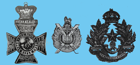 Variations on the basic design. From left; King's Royal Rifle Corps, King's Own Scottish Borderers, Cameronians.